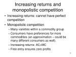 increasing returns and monopolistic competition