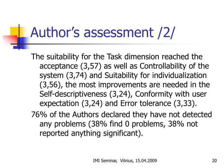 Author's assessment /2/