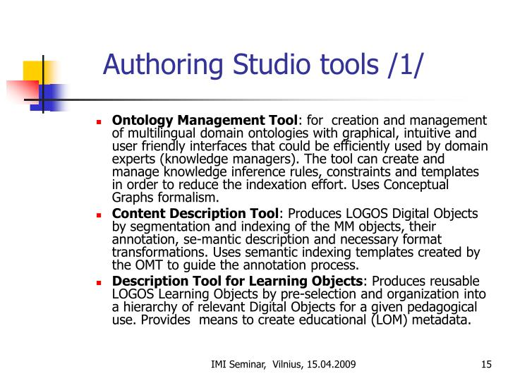 Authoring Studio tools /1/