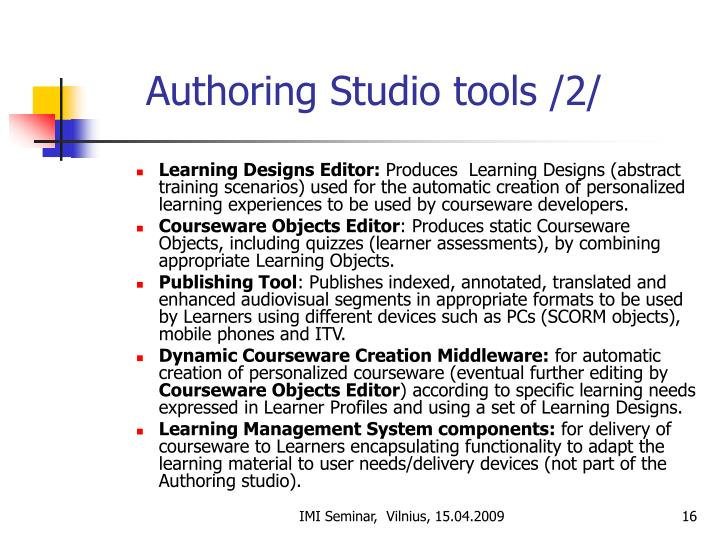 Authoring Studio tools /2/