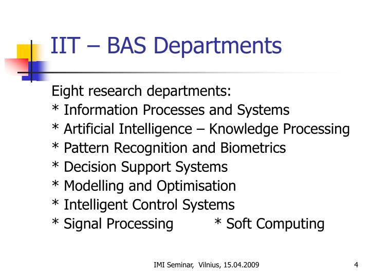 IIT – BAS Departments