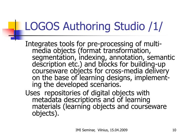 LOGOS Authoring Studio /1/