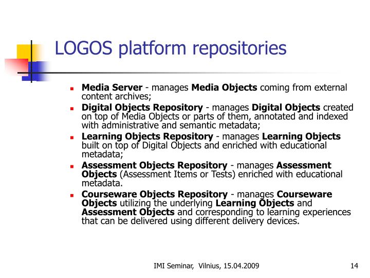LOGOS platform repositories