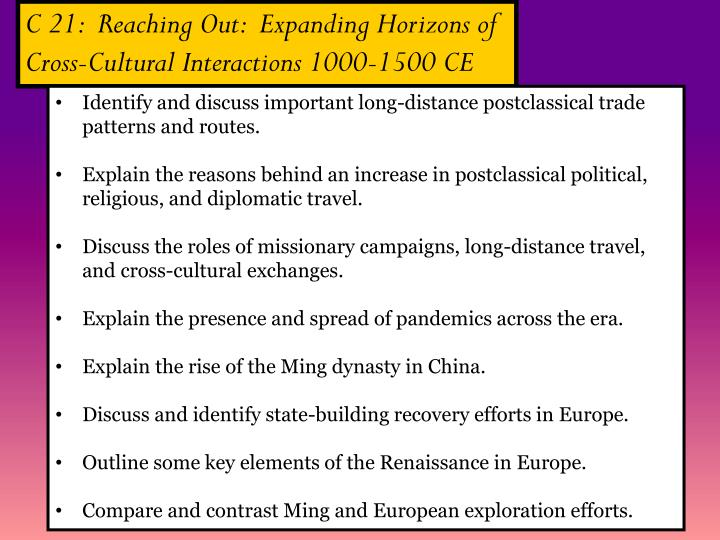 C 21:  Reaching Out:  Expanding Horizons of
