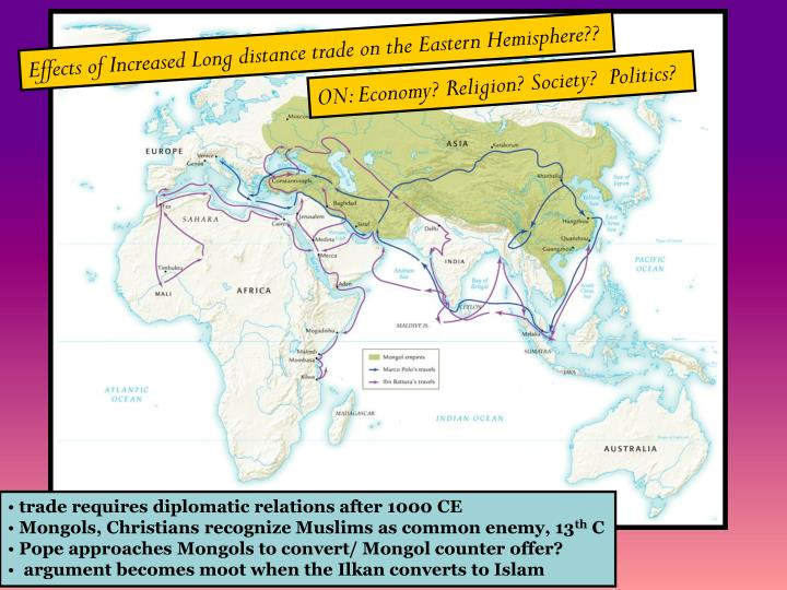 Effects of Increased Long distance trade on the Eastern Hemisphere??