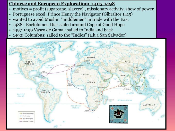 Chinese and European Exploration:  1405-1498