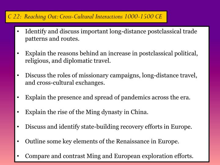 C 22:  Reaching Out: Cross-Cultural Interactions 1000-1500 CE
