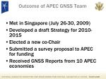 outcome of apec gnss team
