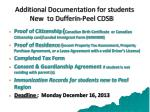 additional documentation for students new to dufferin peel cdsb