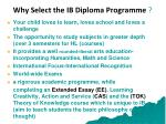 why select the ib diploma programme