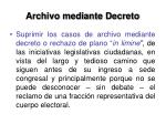 archivo mediante decreto