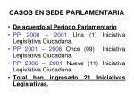 casos en sede parlamentaria
