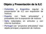 objeto y presentaci n de la ilc1