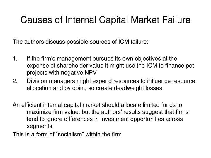 Causes of internal capital market failure