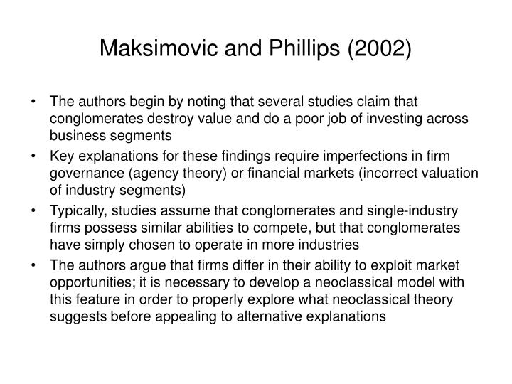 Maksimovic and Phillips (2002)