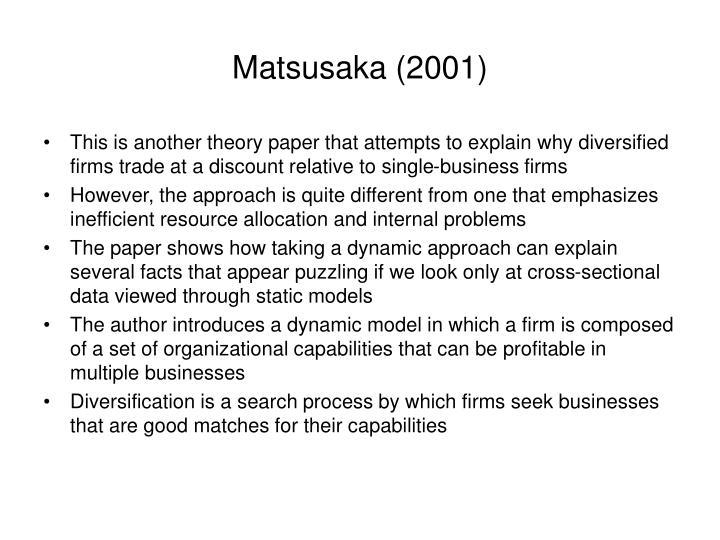 Matsusaka (2001)