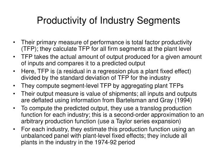 Productivity of Industry Segments