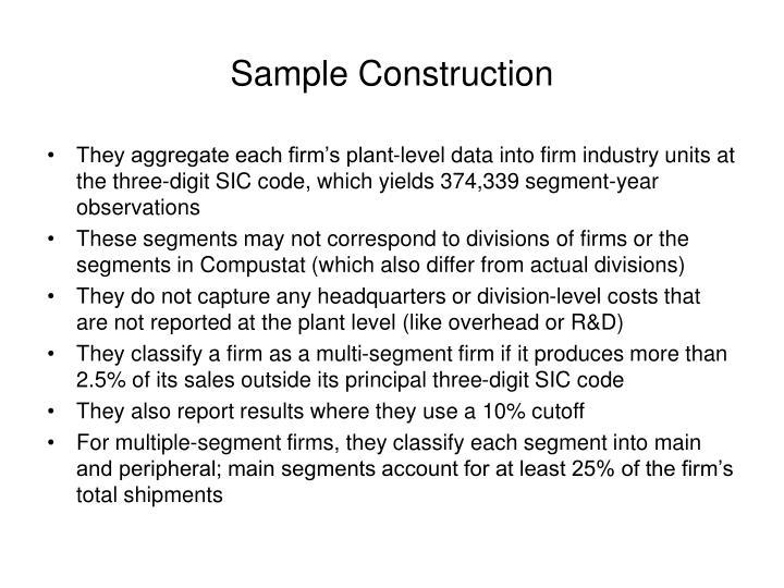 Sample Construction