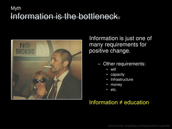 Information is just one of many requirements for positive change.