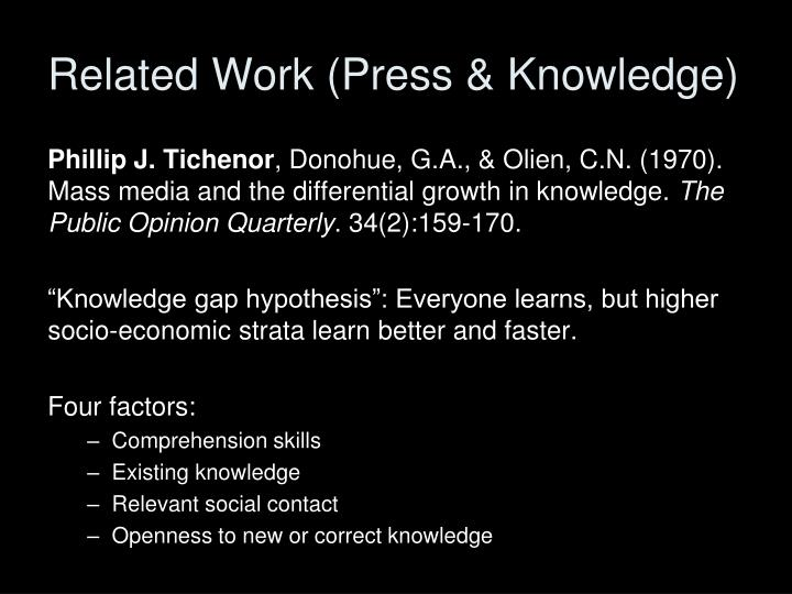 Related Work (Press & Knowledge)