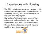 experiences with housing