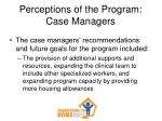 perceptions of the program case managers