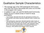 qualitative sample characteristics