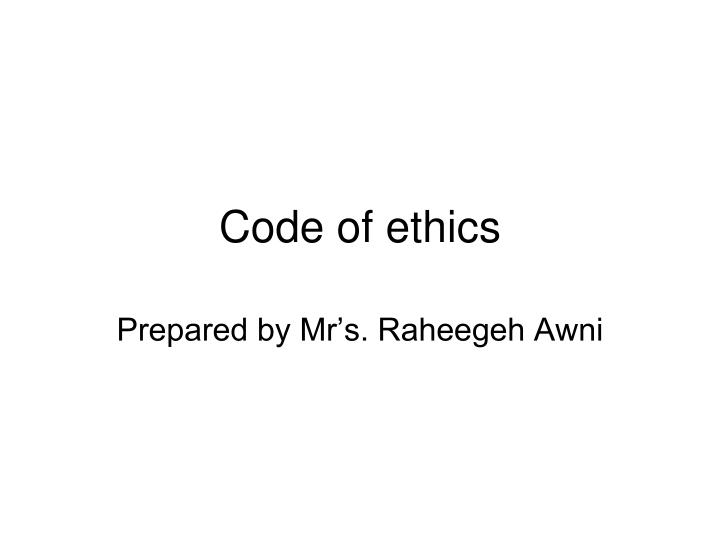 code of ethics n.
