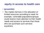 equity in access to health care