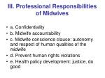 iii professional responsibilities of midwives