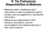 iii the professional responsibilities of midwives