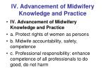iv advancement of midwifery knowledge and practice1