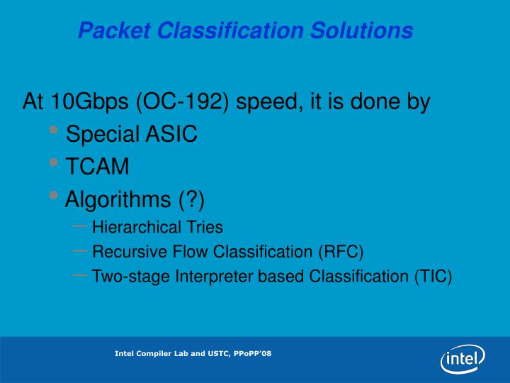 Packet Classification Solutions
