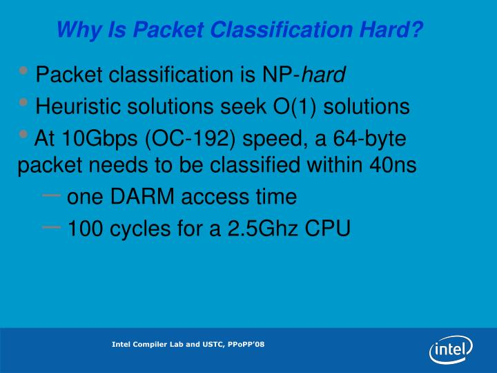 Why Is Packet Classification Hard?