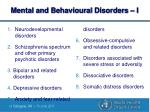 mental and behavioural disorders i