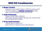 who icd constituencies