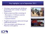 key highlights up to september 2011