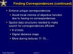finding correspondences continued
