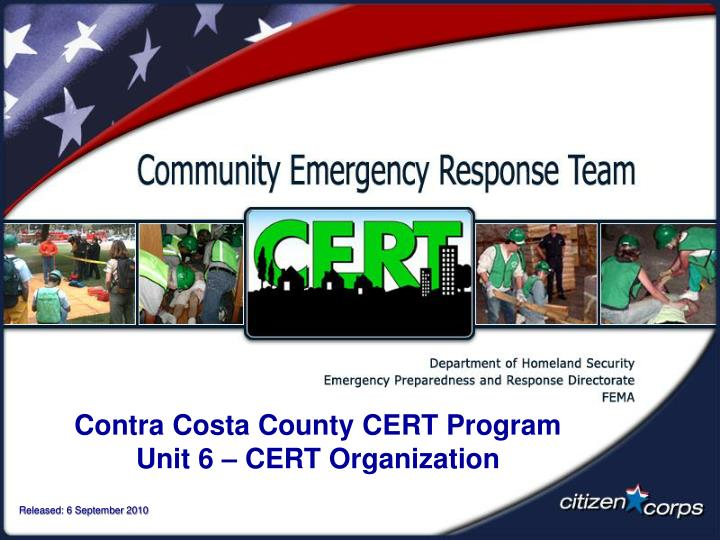 contra costa county cert program unit 6 cert organization n.