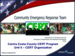contra costa county cert program unit 6 cert organization