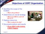 objectives of cert organization