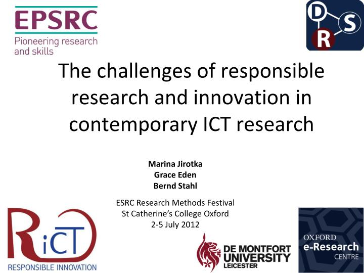 the challenges of responsible research and innovation in contemporary ict research n.
