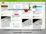 a wealth of knowledge resources organized by meaningful categories