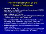 for more information on the toronto declaration