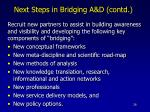 next steps in bridging a d contd