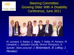 steering committee growing older with a disability conference june 2011