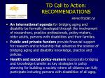 td call to action recommendations