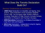 what does the toronto declaration build on