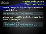 master and content pages advanced