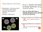 electrons and ions